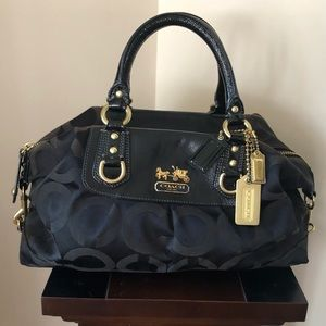 Coach Sabrina Optic Classic Black Canvas Satchel